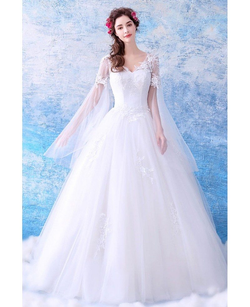 Dreamy Cape Lace Sleeves Princess Wedding Dress Ball Gown Tulle Wholesale T69159 Gemgrace Com
