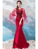 Classy Burgundy Cape Sleeve Mermaid Prom Dress Tight Fitted With Beading