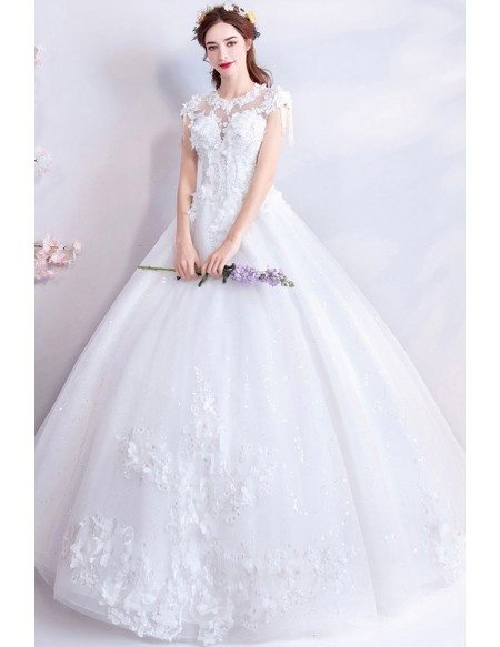 Fairy Flowers White Princess Ball Gown Wedding Dress With Cap Sleeves