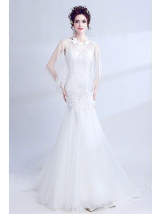 Beautiful Mermaid Lace Fitted Wedding Dress With Cape Sleeves