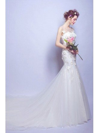 Mermaid Tight Fitted Wedding Dress With Flowers Sheer Neckline