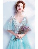 Fantasy Blue Flowy Tulle Long Prom Dress V-neck With Flowers