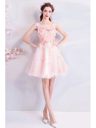 Cute Pink Petals Short Tulle Prom Party Dress With Flowers
