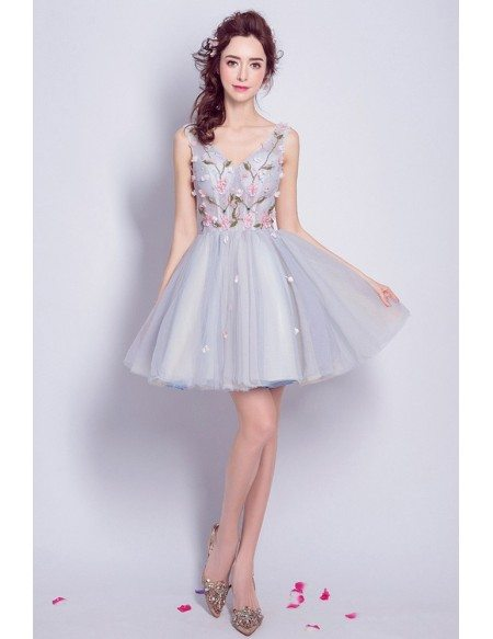 Dusty Blue Tulle Flowers Short Wedding Party Dress Sleeveless