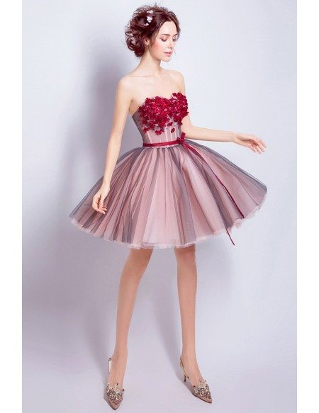 Dusty Black With Red Flowers Cute Short Prom Dress Strapless