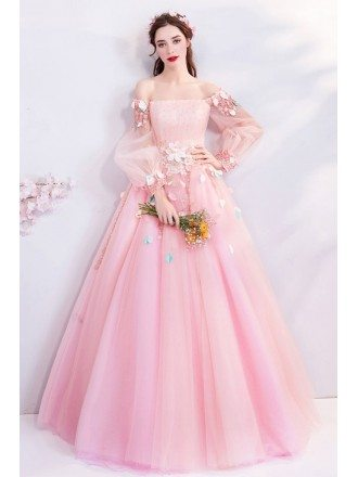 Fairy Pink Butterfly Off Shoulder Poofy Prom Dress With Long Sleeves
