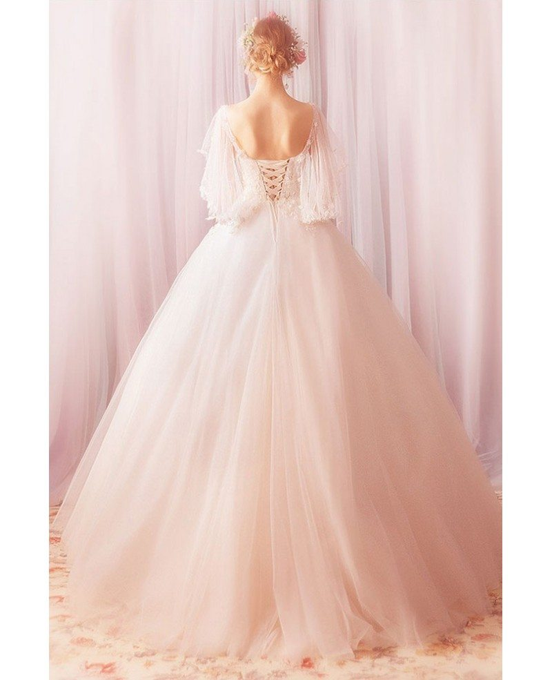 Formal Gown For Wedding: Fantasy Ball Gown Tulle Formal Wedding Dress With Cape
