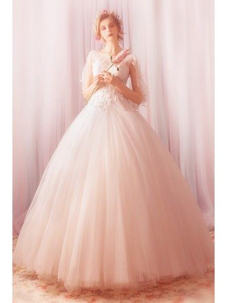 Fantasy Ball Gown Tulle Formal Wedding Dress With Cape Flowers