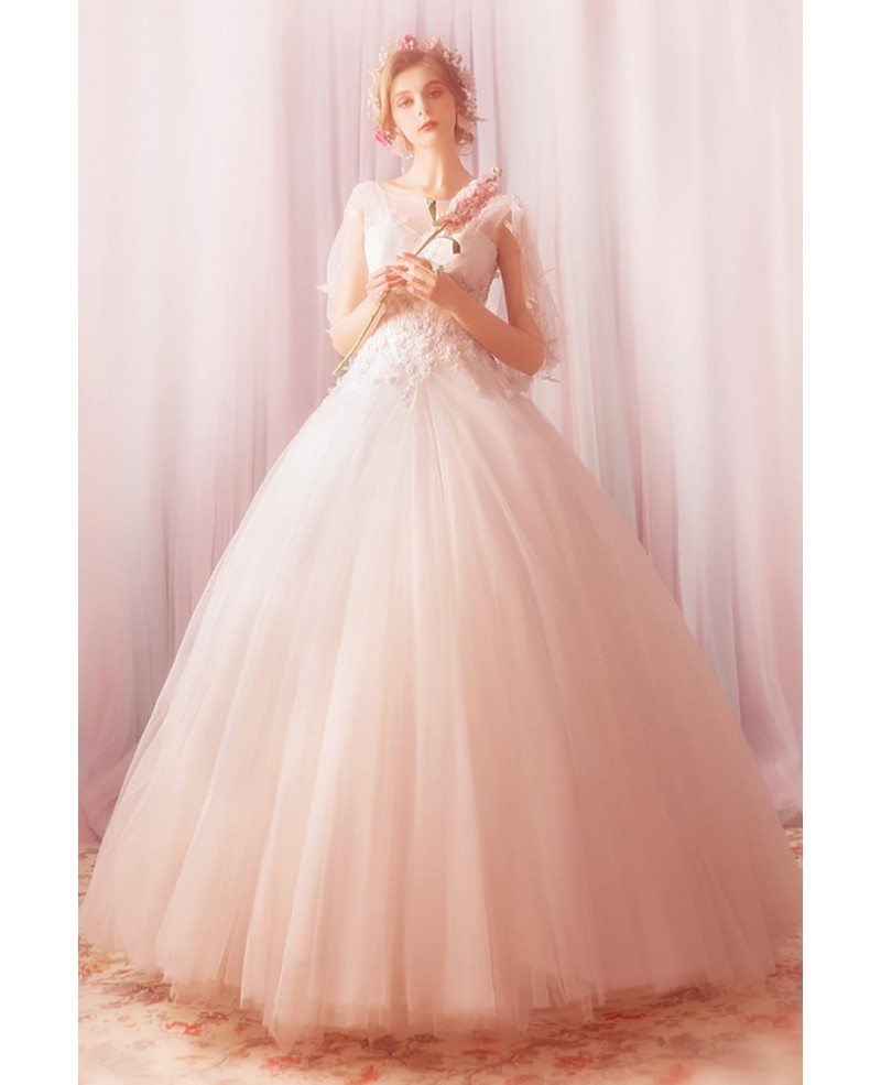 Fantasy Ball Gown Tulle Formal Wedding Dress With Cape