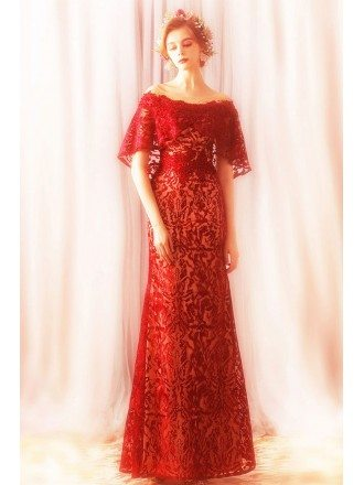 Elegant Long Red Lace Sheath Formal Party Dress With Cape Sleeves