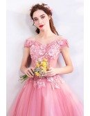 Gorgeous Pink Lace Ball Gown Formal Prom Dress With Flowers