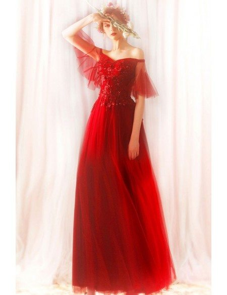Flowy Red Tulle Beaded Lace Prom Dress Long With Off Shoulder