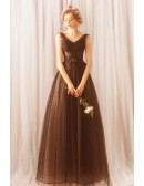 Gothic Black Long Tulle Corset Empire Prom Dress V-neck With Lace Up