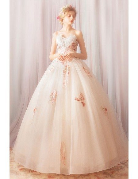 Dreamy Roses Light Champagne Ball Gown Formal Dress With Beading