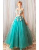 Unique Fairy Teal Green Tulle Prom Dress With Sheer Top Flowers