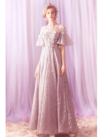 Charming Grey Lace A Line Prom Dress With Butterfly Sleeves
