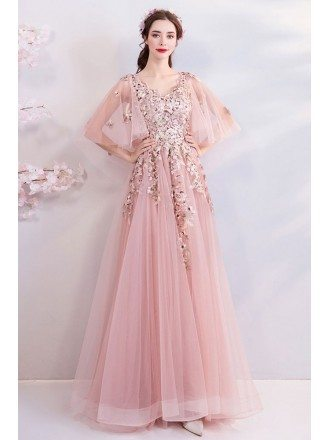 Fairy Blush Pink Tulle Long Prom Dress With Butterfly Sleeves Embroidery