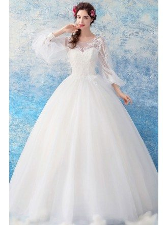 Classy Lace Sheer Sleeves Ball Gown Wedding Dress Princess