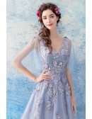 Gorgeous Blue Floral A Line Long Prom Dress With Tulle Sleeves