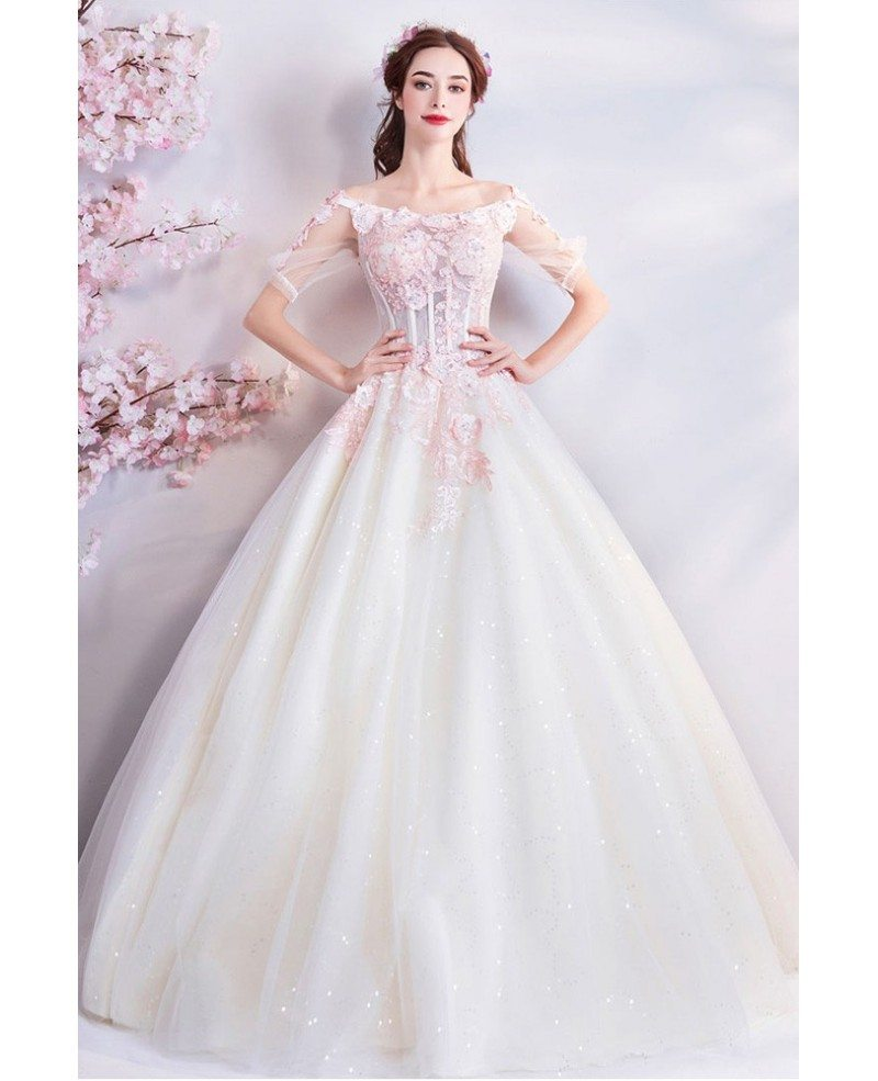 Fairy Princess Pink Flowers Corset Wedding Dress With Sleeves
