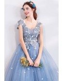 Fatasy Dusty Blue Long Tulle Prom Dress Flowy With Beading