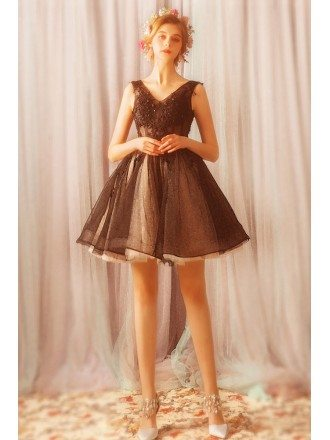 Little Black Chic Tutus Short Tulle Prom Dress With Lace Up