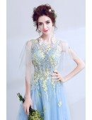 Dreamy Blue Flowers Flowy Long Tulle Prom Dress With Puffy Sleeves