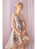 Chic Grey Embroidery Lace High Low Short Prom Dress For Parties