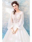 Beautiful Corset Top Lace Boho Tulle Wedding Dress With Long Sleeves