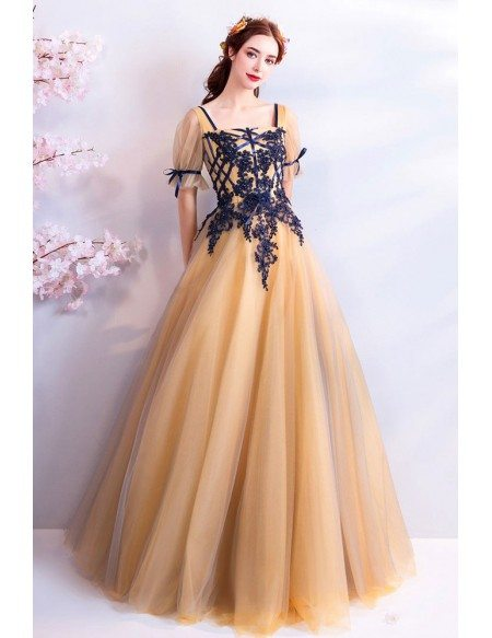 Retro Princess Yellow Tulle Ball Gown Prom