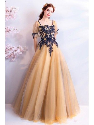 Retro Princess Yellow Tulle Ball Gown Prom Dress Formal With Sleeves