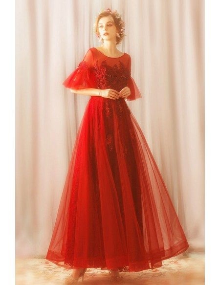 Modest Long Red Tulle A Line Party Dress With Sleeves Lace Up
