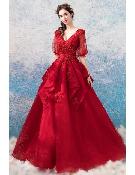 Formal Burgundy Red Lace Ball Gown Prom Dress With Half Sleeves