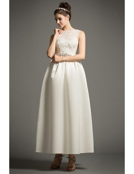 Simple A-Line Scoop Neck Ankle-Length Satin Wedding Dress With Appliques Lace