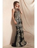 Black with Gold Embroidery Formal Prom Dress Long In Mermaid