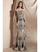 Nude with Black Sparkles Long Mermaid Prom Dress with Scoop Neck