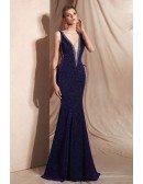 Curvy Purple Long Mermaid Shining Evening Dress with Deep V Neck