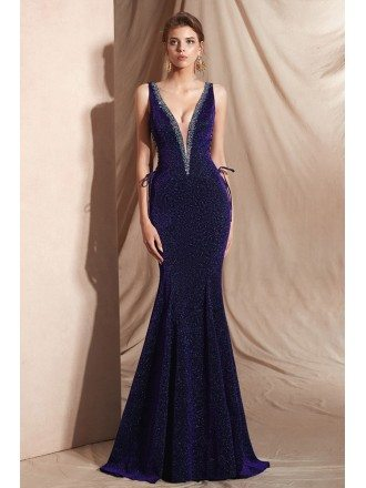 Curvy Purple Long Mermaid Shining Evening Dress with Deep V Neck