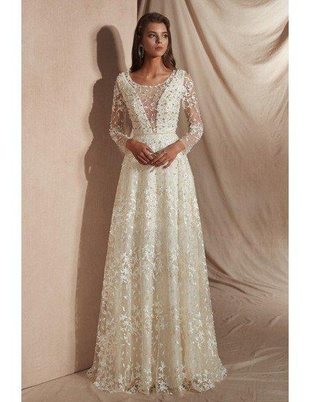 Elegant 2019 Romantic Lace Beaded Wedding Dress With Long Sleeves 27004 Gemgracecom