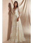 Elegant 2019 Romantic Lace Beaded Wedding Dress with Long Sleeves