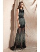 Sparkly Black Fitted Hot Fix Rhinestone Prom Dress For Curvy Girls