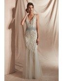 2019 Fitted Mermaid Double Deep V Formal Dress with Sparkly Beading