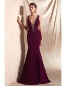 Sleeveless Shiny Mermaid Long Formal Dress with Double Deep V Neck