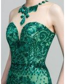 Sparkly Green Long Sequin-lace Prom Dress In Mermaid Style