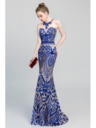 Sexy Royal Blue Shiny Sequin Fitted Mermaid Prom Dress For 2019