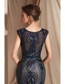Sexy Navy Blue Sequin-lace Evening Dress In Long Mermaid