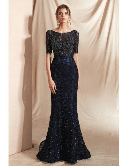 Modest Sparkle Dark Navy Blue Formal Dress with Short Sleeves