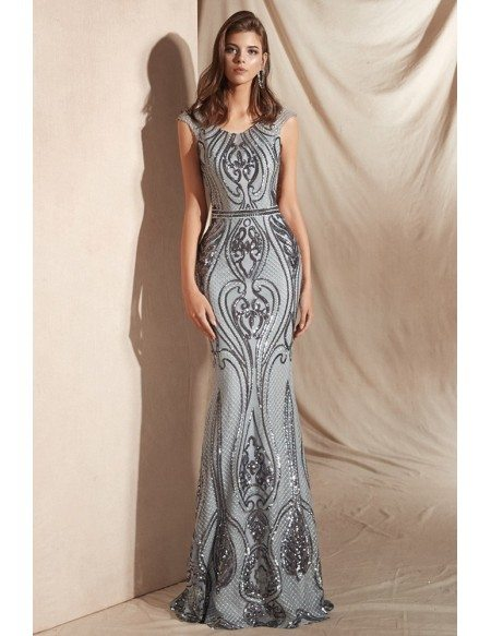 Long Silver Slim Shiny Sequin-lace Party Dress In Mermaid Style