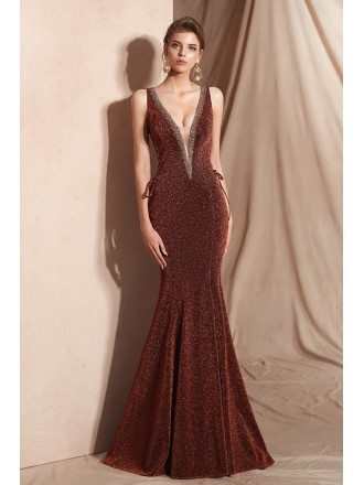 Bling Bling Deep V Mermaid Red Party Dress For 2019 Woman