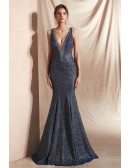 2019 Sparkle Blue Mermaid Prom Dress with Double V Neck